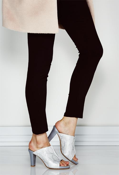 Can storm Mule Mule Sandals Silver-Gold Python enamel beige grey high heel 8 cm / manual size:21.5cm 22 cm ~ 25 cm 25.5 cm /