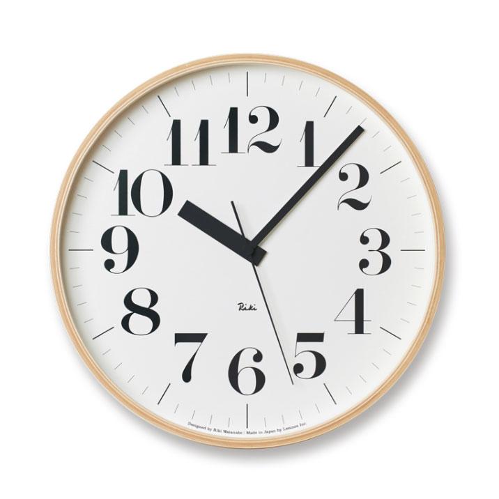 Lemnos RIKI CLOCK RC ナチュラル WR08-27 φ305電波時計掛け時計 時計 ギフト 新築祝い 渡辺力 レムノス