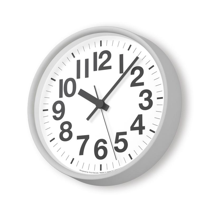 Lemnos ナンバーの時計 グレー YK18-10 GY [電波時計]掛け時計 時計 ギフト 結婚祝い 新築祝い レムノス