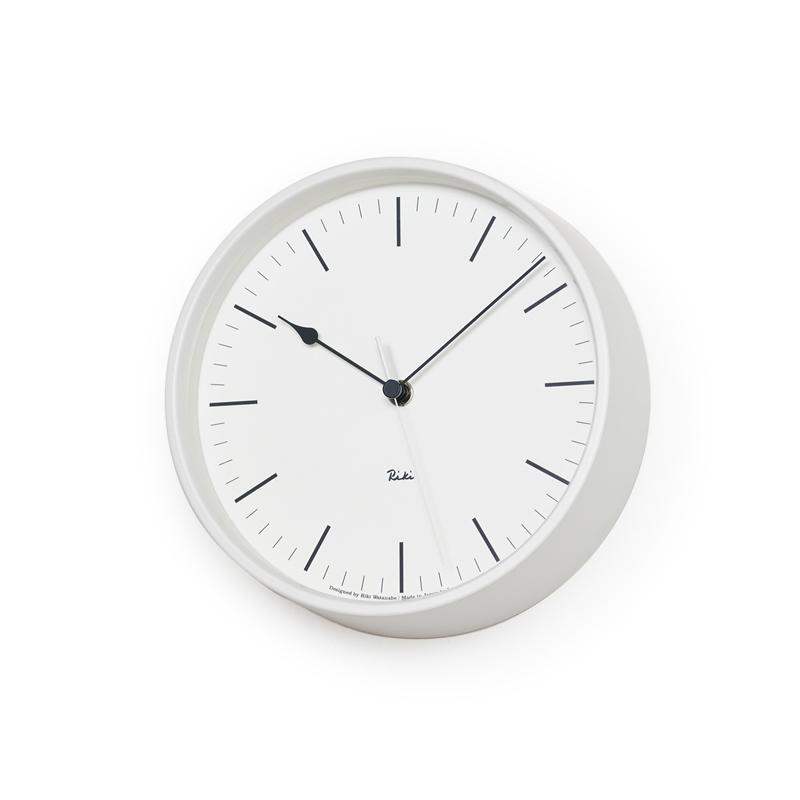 Lemnos RIKI STEEL CLOCK ホワイト WR08-24 WH 電波時計掛け時計 時計 ギフト 新築祝い 渡辺力 レムノス