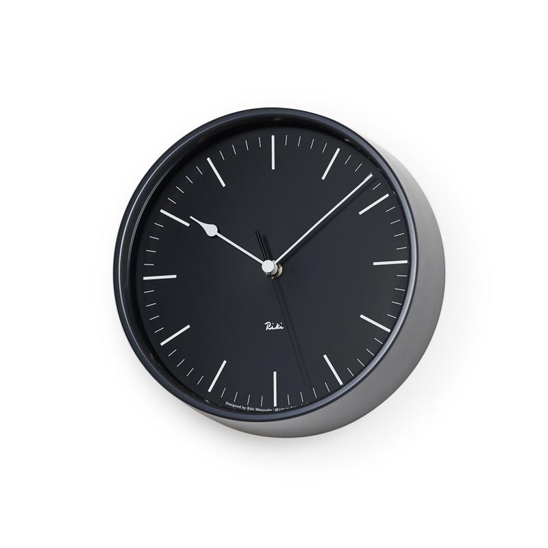Lemnos RIKI STEEL CLOCK / ブラック (WR08-24 BK)[電波時計]掛け時計 時計 ギフト 新築祝い 渡辺力 レムノス
