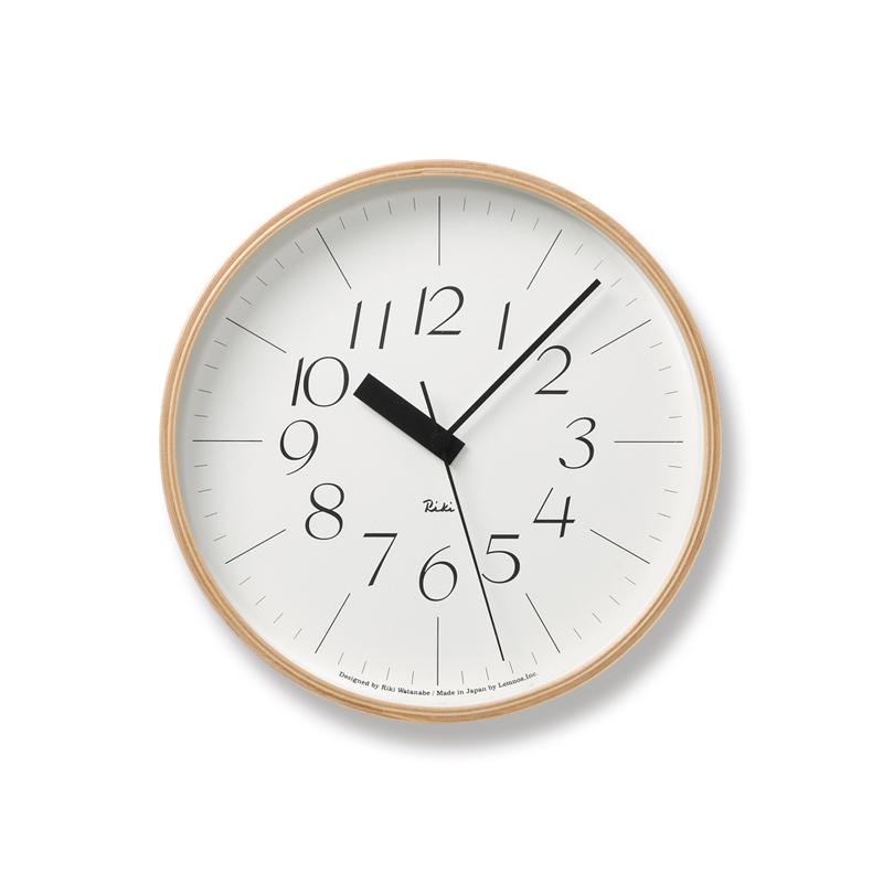 Lemnos RIKI CLOCK RC ナチュラル WR20-01 φ254電波時計掛け時計 時計 ギフト 新築祝い 渡辺力 レムノス