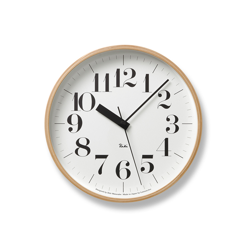 Lemnos RIKI CLOCK RC / ナチュラル (WR20-02)φ254[電波時計]掛け時計 時計 ギフト 新築祝い 渡辺力 レムノス