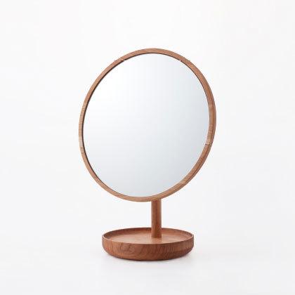 無垢材スタンドミラー(ブラックチェリー) 鏡 化粧鏡 卓上ミラー