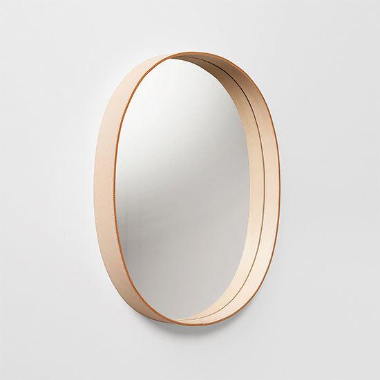 MOHEIM OVAL MIRROR ナチュラル ウォールミラー 鏡 壁掛け鏡 レザー