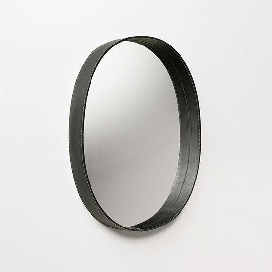 MOHEIM OVAL MIRROR ブラック ウォールミラー 鏡 壁掛け鏡 レザー