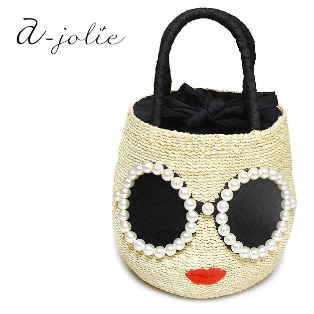 【待望の最新作】≪a-jolie≫ アジョリー真珠パール フレーム サングラス 色白顔 デザイン ラウンド かごバッグ バケツバッグ Bleach Basket (Bleach)【レディース】