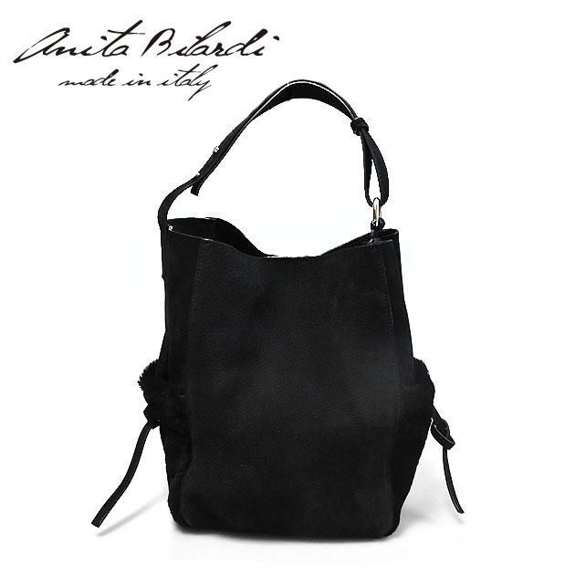 【年末年始セール 60%OFF】≪Anita Bilardi≫ アニタ・ビラルディ本革レザー ブラック スエード ムートンファーポケット ワンハンドル バッグ トートバッグ Capricorn Leather Bag (Black)【レディース】