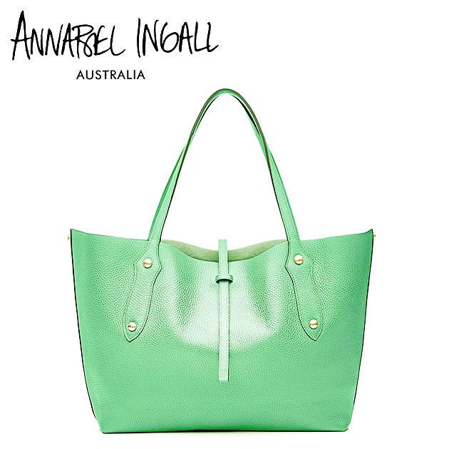 【今だけ10%OFF!!】★≪Annabel Ingall≫ アナベル・インガル本革レザー グリーン トートバッグ Lether Bag (Sea Green)【レディース】