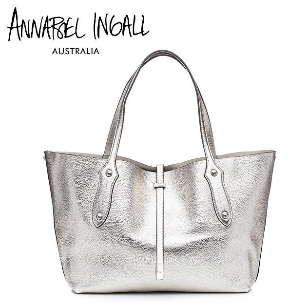 【今だけ10%OFF!!】【CLASSY 雑誌掲載】【再入荷】≪Annabel Ingall≫ アナベル・インガル本革レザー シルバー トートバッグ Lether Bag (Silver)【レディース】