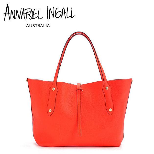 【送料無料】≪Annabel Ingall≫ アナベル・インガル本革レザー ネオンレッド タンジェリン トートバッグ Lether Bag (Tangerine)【レディース】