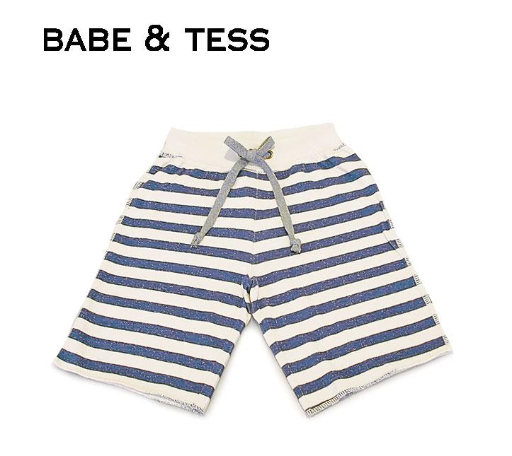 【2歳/3歳】≪BABE&TESS≫ ベイブ&テスボーダー柄 ハーフ ショートパンツ border half short pants(Navy)【子供服】【ベビー】【キッズ】