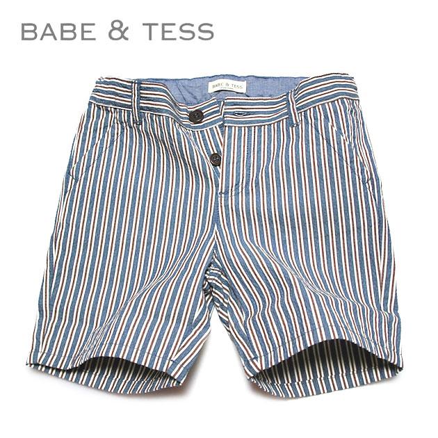 ≪BABE&TESS≫ ベイブ&テスストライプ柄 ハーフ ショートパンツ stripe half short pants(Blue)【子供服】【ベビー】【キッズ】