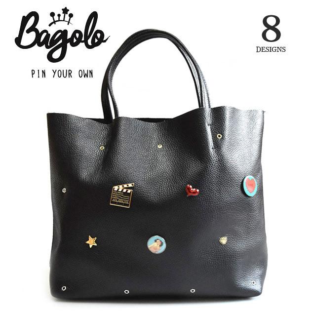 【再入荷】≪Bagolo≫ バゴロ全8デザイン 本革レザー ブラック ピンブローチ カスタマイズ トートバッグ Learther Bag (Black)【レディース】