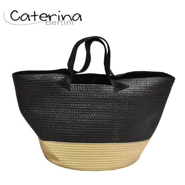 【再入荷】≪Caterina Bertini≫ カテリナ・ベルティーニ全9色 2トーン ブラック ベージュ 配色 かごバッグ Color Basket (Black×Beige)【レディース】【ネコポス不可】