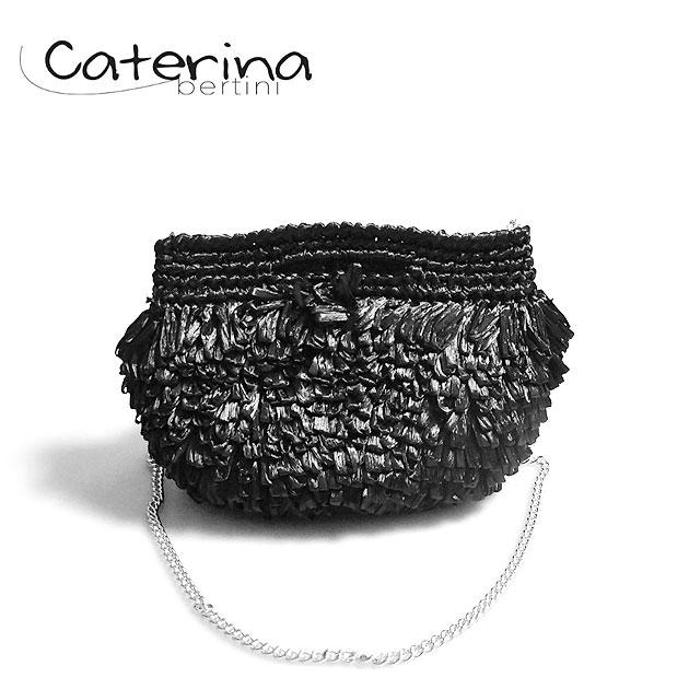 ≪Caterina Bertini≫ カテリナ・ベルティーニブラック フリンジ チェーン付き ミニバッグ かごバッグ ポシェット クラッチ Fringe mini Bag (Black)【レディース】【ネコポス不可】