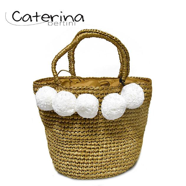【STORY 雑誌掲載】≪Caterina Bertini≫ カテリナ・ベルティーニポンポン付き ベージュ キャメル 丸底 巾着 かごバッグ Pompom Bag (Beige)【レディース】【ネコポス不可】【あす楽対応】