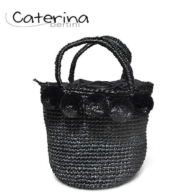 ≪Caterina Bertini≫ カテリナ・ベルティーニポンポン付き ブラック 丸底 巾着 かごバッグ Pompom Bag (Black)【レディース】【ネコポス不可】【あす楽対応】