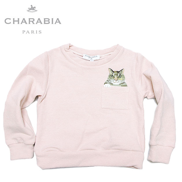 【NewYearSALE 70%OFF】≪Charabia≫ シャラビア左胸ポケット 猫 ネコ 刺しゅう ピンク 起毛 長そでトレーナー (Pink)