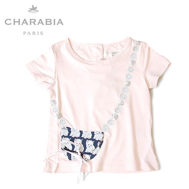 ≪Charabia≫ シャラビアネコ柄 ポシェットデザイン スパンコール ピンク Tシャツ カットソー (Pink)
