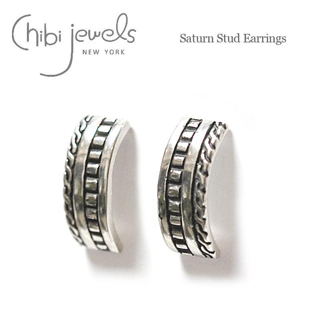 【今だけピアス全品10%OFF】≪chibi jewels≫ チビジュエルズラウンドプレート ロープデザイン シルバー スタッズピアス Saturn Stud Earrings (Silver)【レディース】