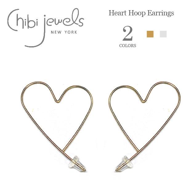 【今だけピアス全品10%OFF】≪chibi jewels≫ チビジュエルズ全2色 ハート型 フープピアス Heart Hoop Earrings(Gold/Silver)【レディース】