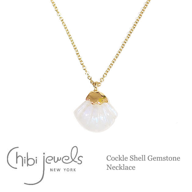 【再入荷】≪chibi jewels≫ チビジュエルズ天然石ムーンストーン 貝がらモチーフ ネックレス Cockle Shell Gemstone Necklace (Gold)【レディース】