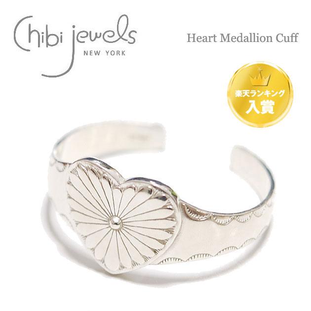 【送料無料】【Gina 雑誌掲載】【ランキング入賞】【再入荷】≪chibi jewels≫ チビジュエルズネイティブハート シルバーバングル Heart Medallion Cuff (Silver)【レディース】