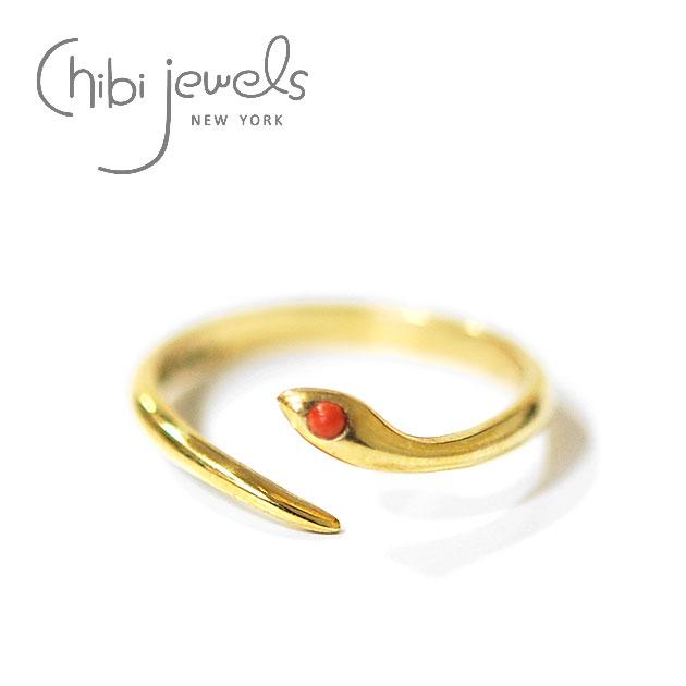 【再入荷】≪chibi jewels≫ チビジュエルズスネークデザイン サーペントゴールドリング 指輪 Serpent Ring (Gold)【レディース】