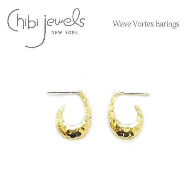 【待望の最新作】【全品10%OFFクーポン配布中】≪chibi jewels≫ チビジュエルズハンマード 渦 波 ウェーブ スタッズ ピアス Wave Vortex Earrings (Gold)【レディース】
