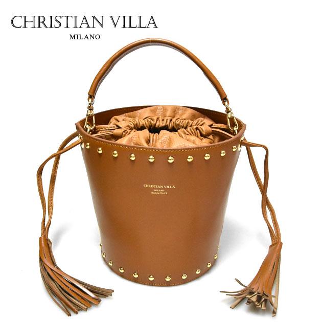 【最安値に挑戦】【CLASSY 雑誌掲載】≪CHRISTIAN VILLA≫ クリスチャン・ヴィラ (POPCORN ポップコーン)本革レザー キャメル ブラウン ショルダー バケツバッグ Learther Bag (Camel)【レディース】