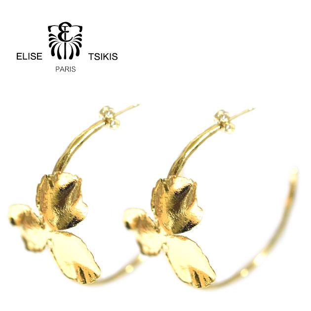 【待望の新入荷】【全品10%OFFクーポン配布中】≪ELISE TSIKIS≫ エリーゼ・ティキスパンジー フラワーモチーフ フープスタッズピアス NEA Earrings (Gold)【レディース】