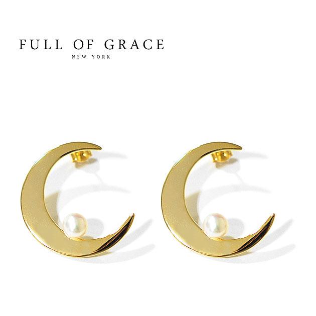 【CLASSY 雑誌掲載】【STORY 雑誌掲載】【再入荷】≪FULL OF GRACE≫ フルオブグレイス月ムーンモチーフ パールピアス Moon Pearl Earrings (Gold)【レディース】