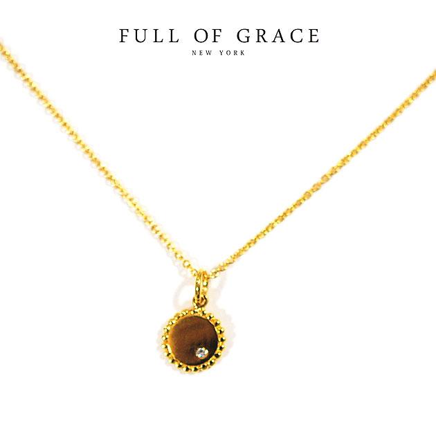 【再入荷】≪FULL OF GRACE≫ フルオブグレイスキュービックジルコニア ゴールド サークル ラウンド ネックレス Gold Necklace (Gold)【レディース】【ギフト ラッピング】