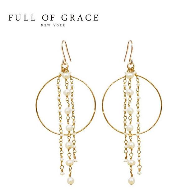 ≪FULL OF GRACE≫ フルオブグレイス 真珠パール チェーン ピアス Pearl Chain Hoop Earrings【レディース】【ギフト ラッピング】