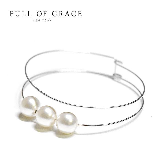 【待望の最新作】≪FULL OF GRACE≫ フルオブグレイス真珠 パール シルバー ワイヤー ブレスレット バングル モダンコレクション Lined Pearl Bracelet (Silver)【レディース】【ギフト ラッピング】