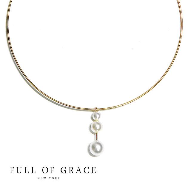 ≪FULL OF GRACE≫ フルオブグレイス真珠 パール ゴールド ワイヤー チョーカー ネックレス モダンコレクション Drop Droplet Pearl Choker (Gold)【レディース】