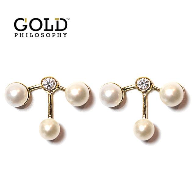 【NewYearSALE 50%OFF】≪Gold Philosophy≫ ゴールドフィロソフィー真珠パール ジルコニア ゴールドピアス Pearl Zirconia Gold Earrings (Gold)【レディース】