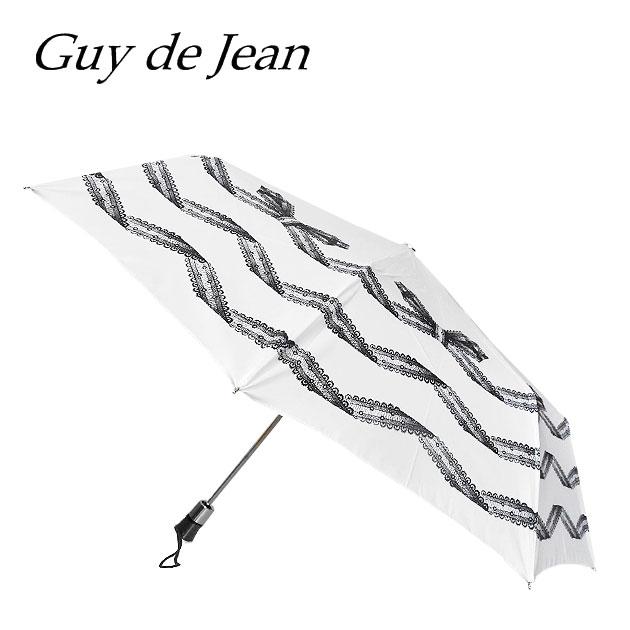 【待望の最新作】【傘&レイングッズ 10%OFF】≪Guy de Jean≫ ギィ・ド・ジャンレースリボン柄 ホワイト 折り畳み傘 日傘 UV加工 Ribbon Umbrella (White)【レディース】【ネコポス不可】