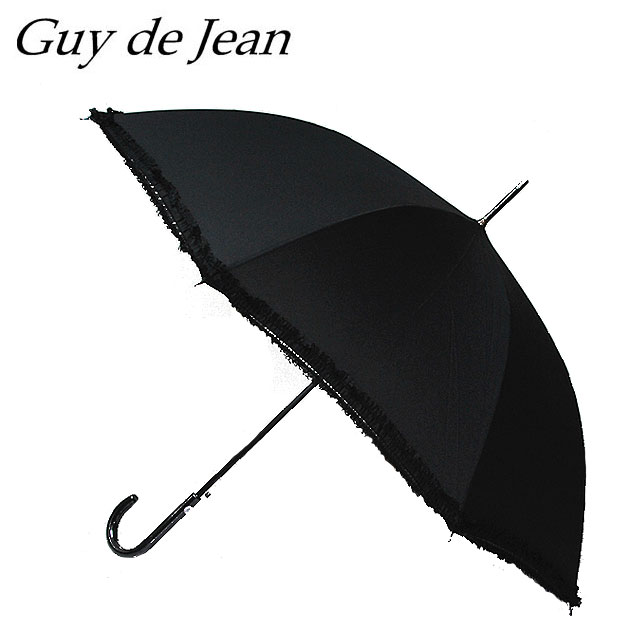 ≪Guy de Jean≫ ギィ・ド・ジャンレース付き シンプル ブラック長傘 Race Simple Black umbrella (Black)【レディース】【ネコポス不可】【ラッピング不可】