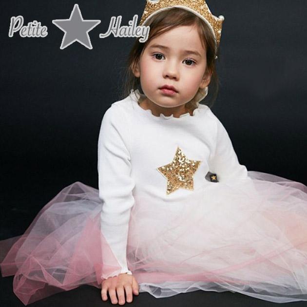 【4歳/5歳】女の子がときめくデザインに溢れる!≪Petite Hailey≫ プチ・ヘイリーホワイト×ピンク グラデーション チュチュ 長袖 ワンピース Tutu Star Dress Gradation Pinkキッズ/女の子