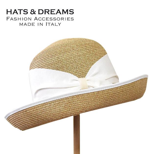 ≪HATS & DREAMS≫ ハッツ&ドリームス(FERRUCCIO VECCHI)ナチュラル ベージュ シンプル つば広 ストローハット ホワイトリボン 麦わら帽子 (Natural/White) 【ネコポス不可】【レディース】