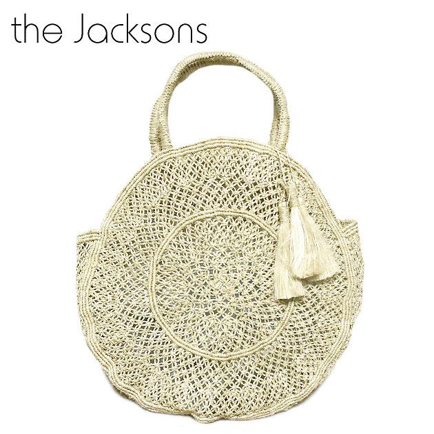 【STORY 雑誌掲載】【待望の最新作】≪The Jacksons≫ ザ・ジャクソンズフリンジ タッセル付き 丸型 サークル ラウンドバッグ ナチュラル かごバッグ Lola Jute Bag (Natural)【レディース】