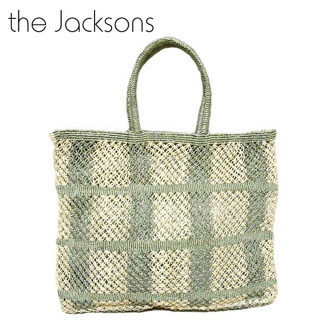 ≪The Jacksons≫ ザ・ジャクソンズカーキ モスグリーン チェック柄 ナチュラル かごバッグ Picnic Jute Bag (Natural/Ash)【レディース】【ネコポス不可】