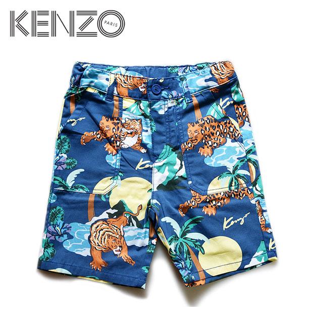 【4歳/5歳/6歳/7歳】KENZOからキッズラインが登場!≪KENZO≫ ケンゾーハワイ柄 ブルー ハワイアン タイガー トラ パームツリー ボトムス バミューダパンツ スケーターパンツHawai Cotton Bermuda shorts(Dark Blue)キッズ/男の子/子供