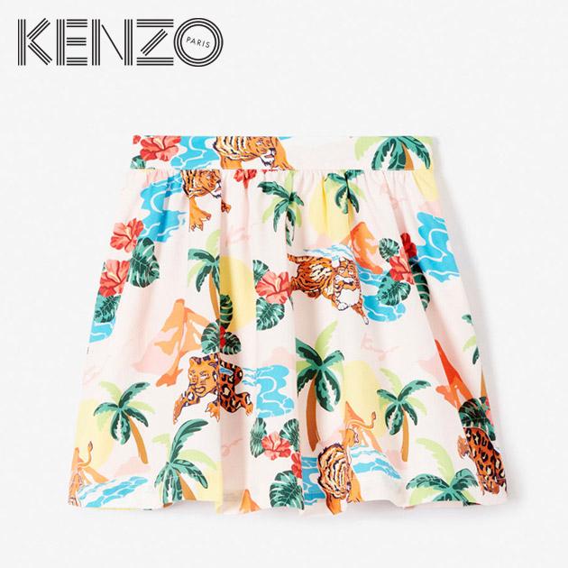 【4歳/5歳/6歳/7歳】KENZOからキッズラインが登場!≪KENZO≫ ケンゾーハワイ柄 プリーツ フレア スカート ピンク ハワイアン ヒョウ トラ ライオン ボトムスHawai skirt (Light Pink)キッズ/女の子/子供