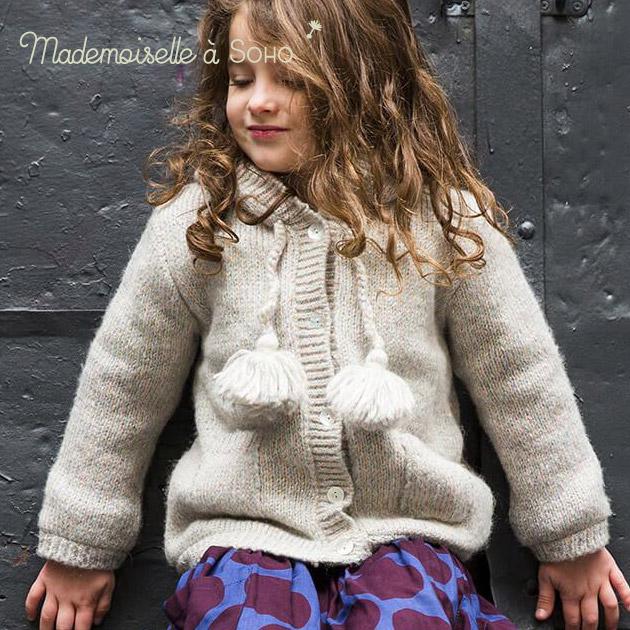 【2歳/3歳/4歳/5歳/6歳/7歳】NYらしい洗練されたデザインの子供服ブランド!≪Mademoiselle a Soho≫ マドモアゼル ア ソーホーカラフルラメ糸混 フード付き ニット コート シルバー グレー アウターLittle Coat (Unicorn)ベビー/キッズ/女の子/子供用