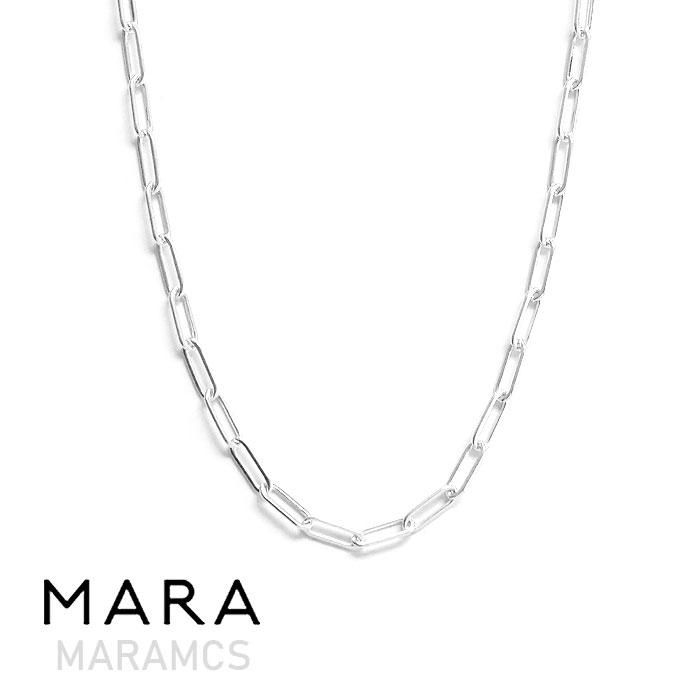 【待望の最新作】【全品10%OFFクーポン配布中】≪MARAMCS≫ マラムクス長方形 楕円 チェーン シルバー ネックレス チョーカー ブランドポーチ付き SV925 Rectangle Chain Necklace (Silver)【レディース】