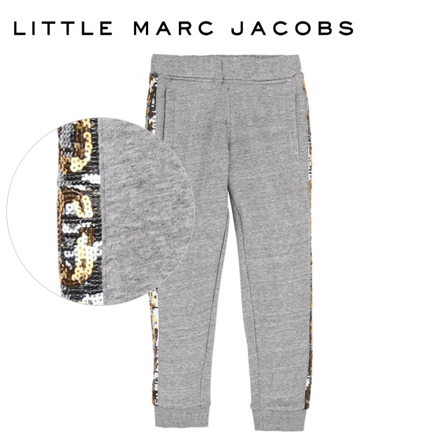 【6歳/7歳】人気ブランドのキッズライン!≪Little Marc Jacobs≫ リトル・マーク・ジェイコブススパンコールライン入り 裏フリース スウェット パンツ グレー ボトムス Jogging Bottoms Chine Greyキッズ/女の子/男の子