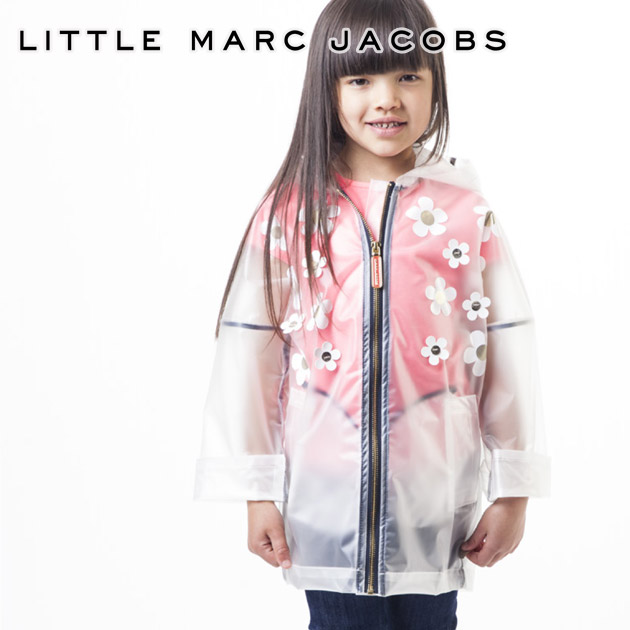 【4歳/5歳】2019 新作 人気ブランドのキッズライン!≪Little Marc Jacobs≫ リトル・マーク・ジェイコブス花モチーフ付き レインコート クリア TRANSPARENT RAIN COATキッズ/女の子